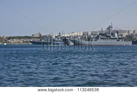 Russian military ships on navy parade in town Sevastopol in region Crimea on Black sea.