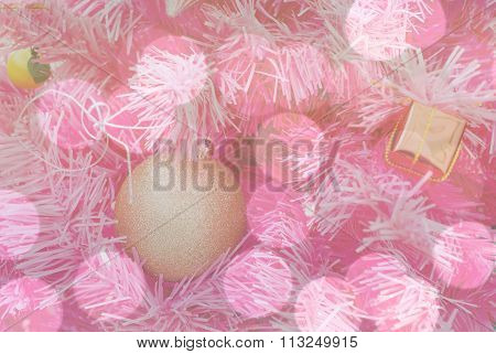 Beautiful Object Decorated On Pink Chirstmas Tree