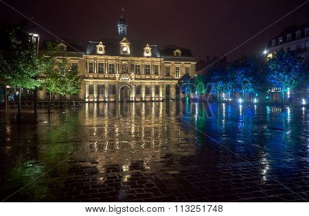 City Hall in the rain at night in Troyes