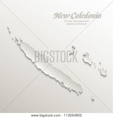 New Caledonia map card paper 3D natural vector