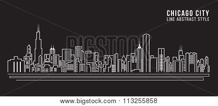 Cityscape Building Line Art Vector Illustration Design - Chicago City
