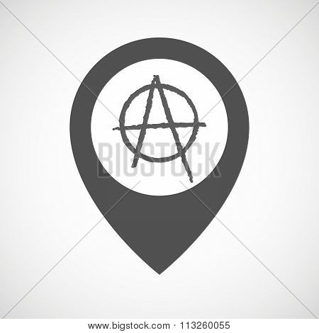 Isolated Map Marker With An Anarchy Sign