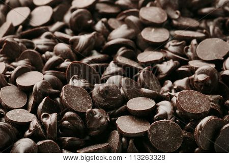 Chocolate morsels, close-up