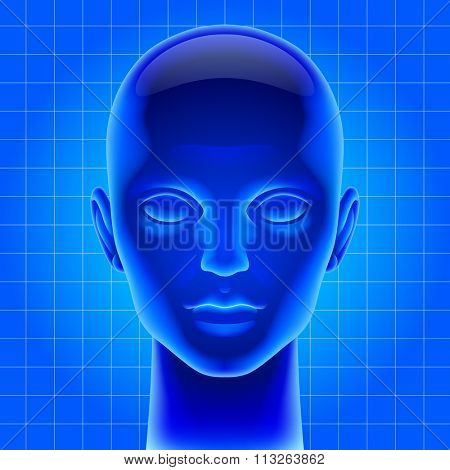Three dimensional futuristic artificial head in blue light as metaphor for high technology. Contain the Clipping Path