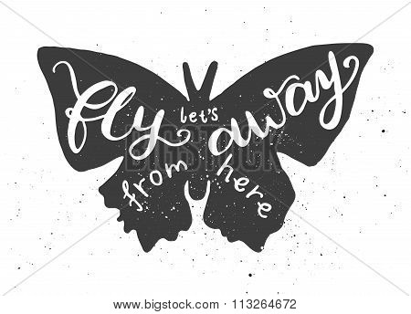 Butterfly lettering poster