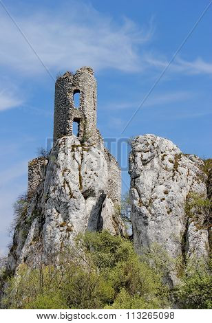ruin of castle on the rock, Sirotci hrad, Czech republic
