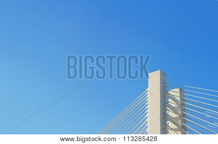 Modern bridge fragment and blue sky