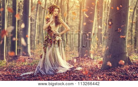 Autumn Princess in forest at fall