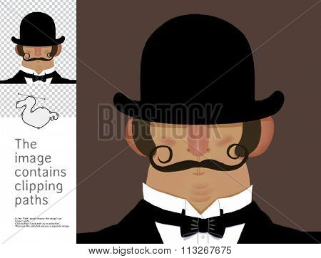 The illustration of the gentleman wearing derby hat with mustache.  A part of Dodo collection - a set of educational cards for children. The image has clipping paths and you can cut the image out.