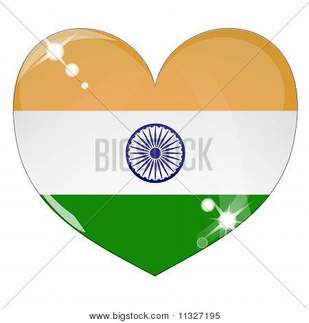Vector heart with India flag texture