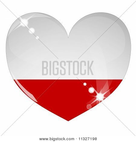 Vector heart with Poland flag texture