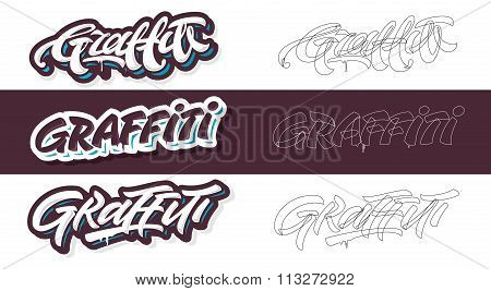 Graffiti lettering vector in 3 different variations