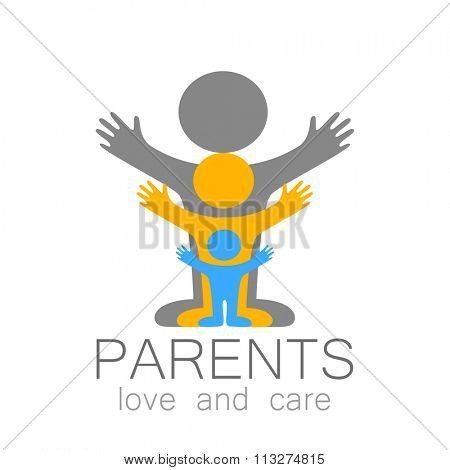 Parents sign. Love and care. Logo template. Family,  parents and children,  parents and teens an itc.