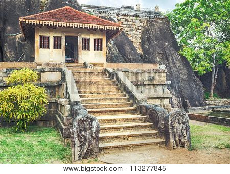 Isurumuniya Viharaya in the sacred world heritage city of Anuradhapura, Sri Lanka. Panorama