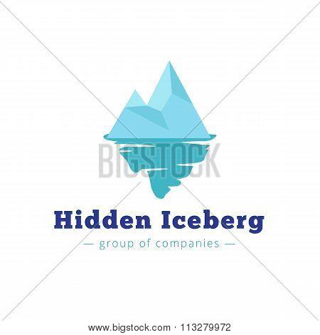 Vector minimalistic blue iceberg logo. Brand sign poster