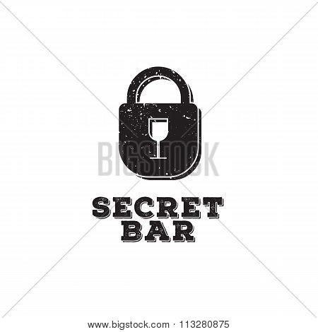 Vector minimalistic secret bar logo with little glass as a keyhole