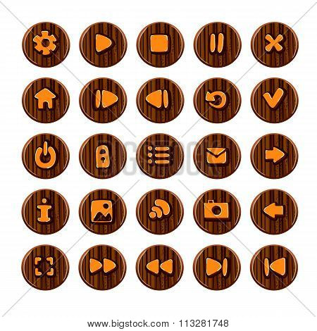 Big Set Of Wooden Button For Game Design