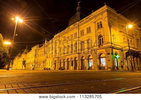 Zagreb Croatia - July 15 2015: Night view in the streets of Zagreb at night in Zagreb Croatia.