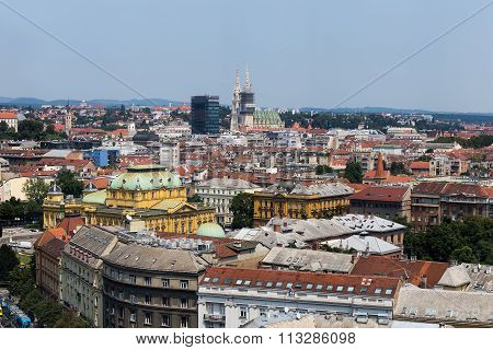 Zagreb, Capital Of Croatia Aerial View - Colorful Rooftops And Church Towers In Zagreb, Croatia.