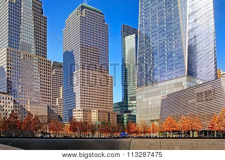 Panorama of the Freedom Tower and reflecting pools, New York