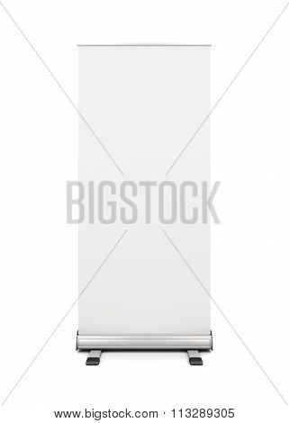 Blank Roll-up Banner Display Isolated On White Background. 3D.