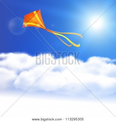 Kite In The Sky. Vector Illustration, Eps10, Editable.