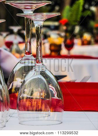 Cocktail glasses for two.  Eveving dinner tables el fresco.