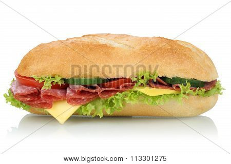 Sub Deli Sandwich Baguette With Salami Side View Isolated