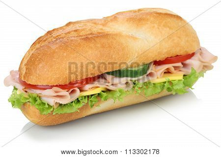 Sub Deli Sandwich Baguette With Ham Isolated