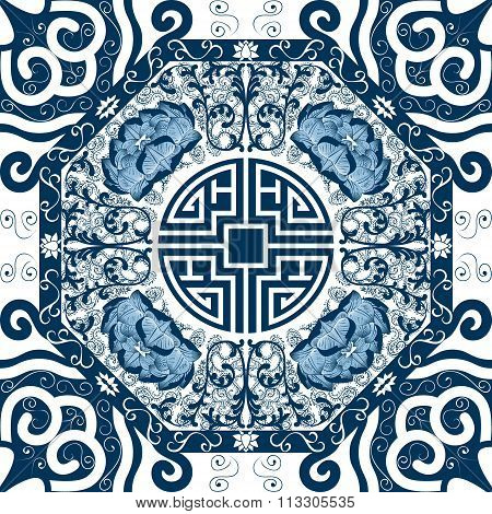 Seamless pattern with chinese ornament peony