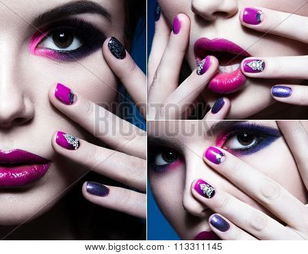 Beautiful girl with bright creative fashion makeup and colorful nail polish. Art beauty design. coll
