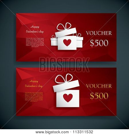 Valentine's day gift card voucher template present and space for your text. Horizontal red low poly