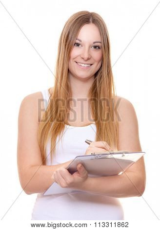 Attractive young woman doing survey. All on white background.