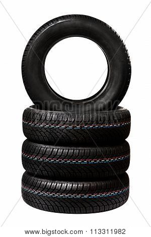 Car Tires. Winter Wheel Profile Structure On White Background