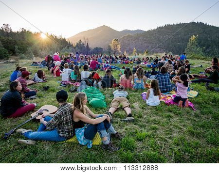 Summer campers at evening gathering