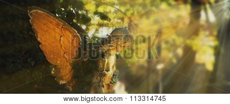 Golden Angel In The Sunlight (antique Statue)