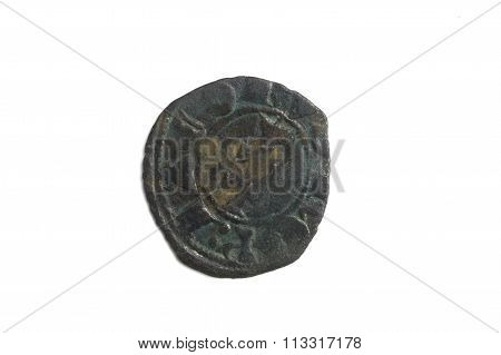 Medieval Coin Of Spain, Jaime Ii, Dinero De Aragon