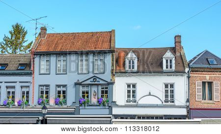 Colorful apartment building in Amiens, Paris, France.