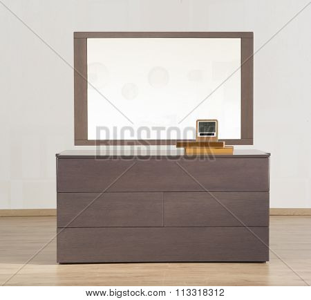 NEW FURNITURE LINE , MODERN DESIGN,  STRAIGHT LINES , MATERIALS : WOOD, MIRROR . ITEM : BEDROOM DRESSER
