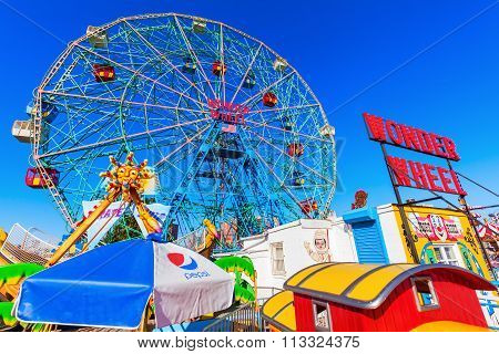 NEW YORK CITY - OCTOBER 11, 2015: Luna Park with unidentified people. Its an amusement park in Coney Island opened on May 29, 2010 at the former site of Astroland, named after original park from 1903