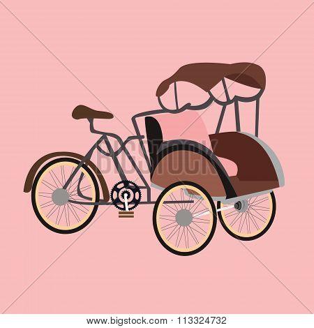 becak rickshaw indonesia jakarta icon flat vector illustration transportation