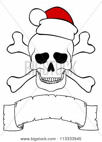 Skull With Santa Hat, Crossed Bones And Empty Ribbon For Your Text