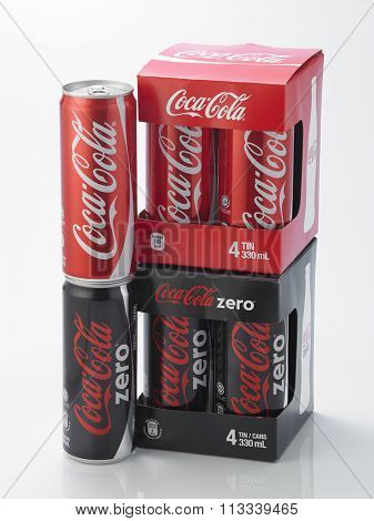 Kuala Lumpur Malaysia December 28, 2015,new slim and tall design of cocacola zero and cocala original can