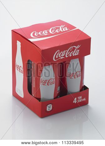Kuala Lumpur Malaysia December 28, 2015,new slim and tall design of cocacola cans in a box