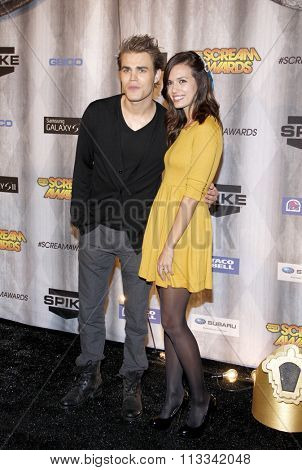 Paul Wesley and Torrey DeVitto at the Scream Awards 2011 held at the Universal Studios Backlot in Universal City, USA on October 15, 2011.