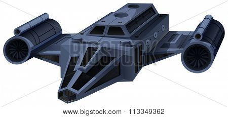 Black spaceship flying on white illustration