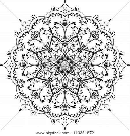 mandala, zentangle inspired illustration, black and white
