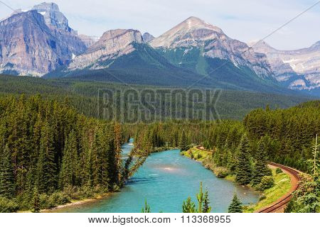 View over a river through the Rocky Mountains, Banff, Canada