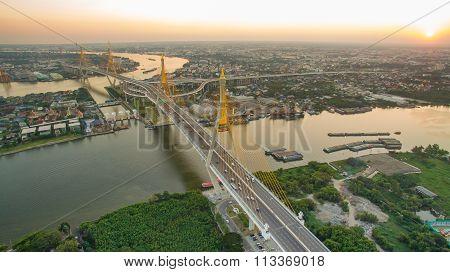 Aerial View Of Bhumibol 1,2 Bridge Important Landmark Of Bangkok Thailand Capital In Land Transporta