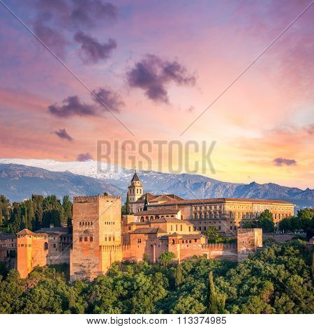 Fantastic Ancient Alhambra at thel evening time, Granada, Spain, European travel landmark